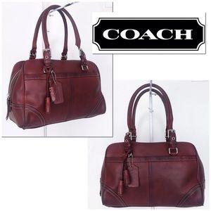 Coach Hamptons Ruby Red Leather Satchel Handbag